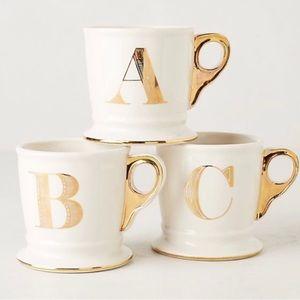 New-Anthropologie Monogram Mug- Letter S